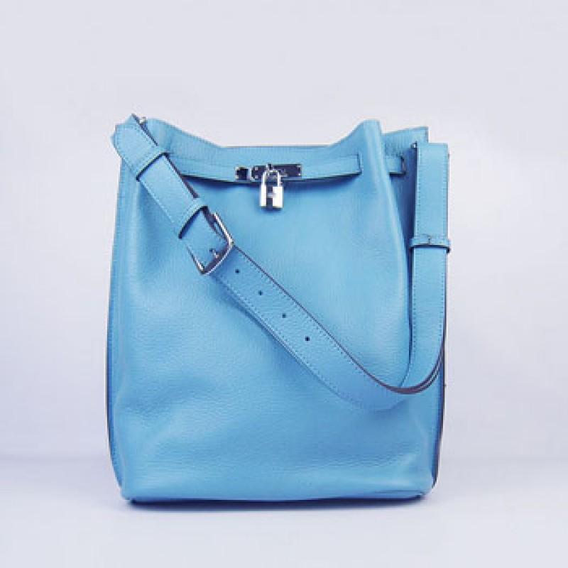 60fc505cb29 Hermes So Kelly 24cm Nappa Leather Shoulder Bag light blue Silver