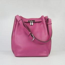 Hermes So Kelly 24cm Nappa Leather Shoulder Bag peach Silver