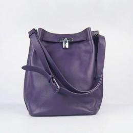 Hermes So Kelly 24cm Nappa Leather Shoulder Bag purple Silver