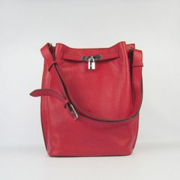 Hermes So Kelly 24cm Nappa Leather Shoulder Bag red Silver
