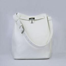 Hermes So Kelly 24cm Nappa Leather Shoulder Bag white Silver