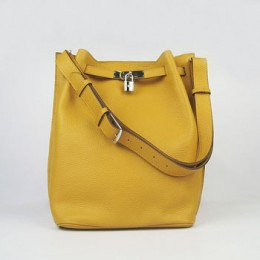 Hermes So Kelly 24cm Nappa Leather Shoulder Bag yellow Silver
