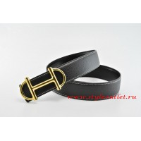 Hermes Anchor Chain Leather Reversible Black/Black Belt 18k Gold Buckle