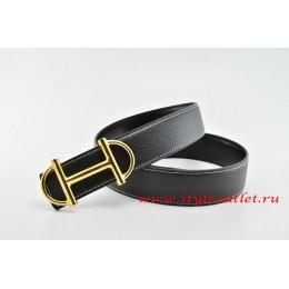 Hermes Anchor Chain Leather Reversible Black/Black Belt 18k Gold Buckle