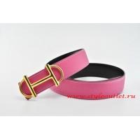 Hermes Anchor Chain Leather Reversible Pink/Black Belt 18k Gold Buckle