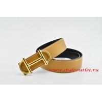 Hermes Anchor Chain Leather Reversible Light/Coffee/Black Belt 18k Gold Buckle