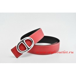 Hermes Anchor Chain Leather Reversible Red/Black Belt 18k Silver Buckle