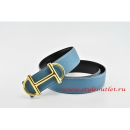 Hermes Anchor Chain Leather Reversible Blue/Black Belt 18k Gold Buckle