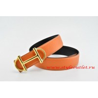 Hermes Anchor Chain Leather Reversible Orange/Black Belt 18k Gold Buckle