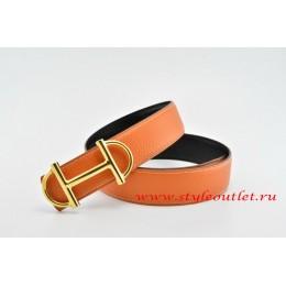 Hermes Anchor Chain Leather Reversible Orange/Black Belt 18k Gold Buckle