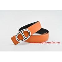 Hermes Anchor Chain Leather Reversible Orange/Black Belt 18k Silver Buckle