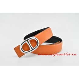 Hermes Anchor Chain Leather Reversible Orange/Black Belt 18k Silver Buckle