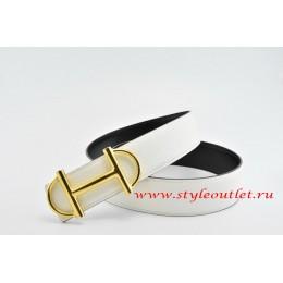 Hermes Anchor Chain Leather Reversible White/Black Belt 18k Gold Buckle