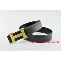 Hermes Classics H Leather Reversible Black/Black Belt 18k Gold With Logo Buckle