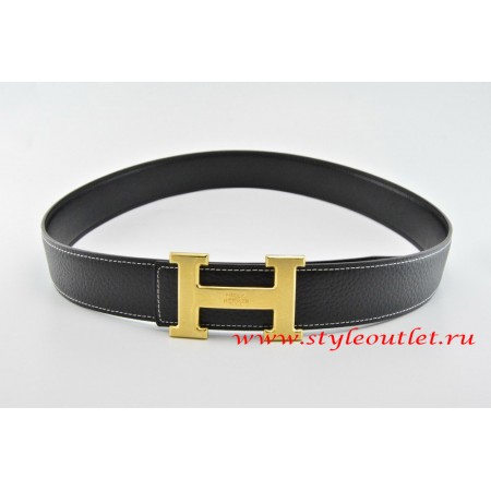 Hermes Classics H Leather Reversible Black/Black Belt 18k Gold With Logo Buckle