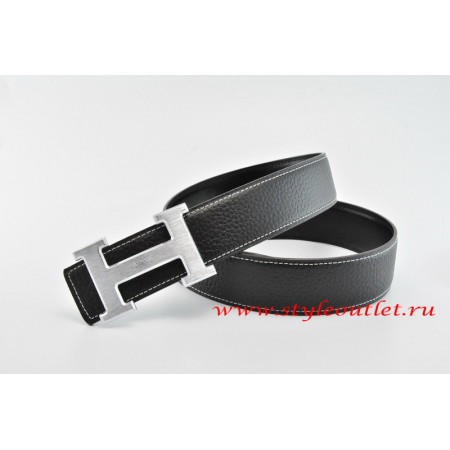 Hermes Classics H Leather Reversible Black/Black Belt 18k Silver With Logo Buckle