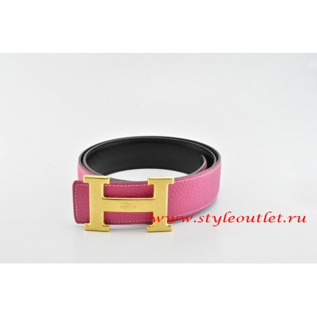 Hermes Classics H Leather Reversible Pink/Black Belt 18k Gold With Logo Buckle