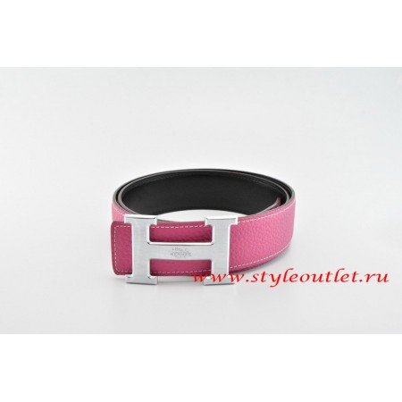Hermes Classics H Leather Reversible Pink/Black Belt 18k Silver With Logo Buckle