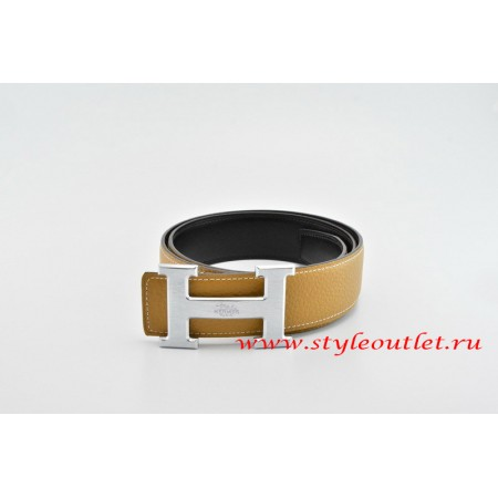 Hermes Classics H Leather Reversible Light Coffee/Black Belt 18k Silver With Logo Buckle