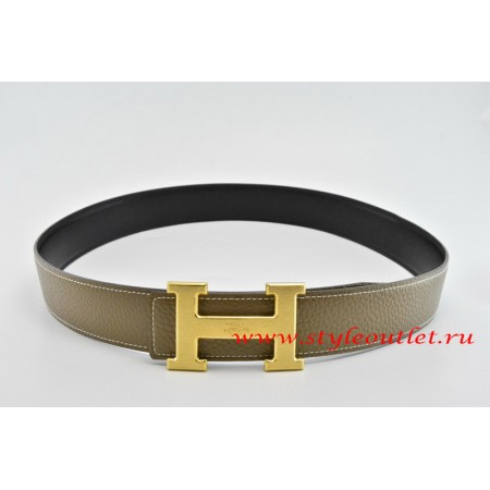 Hermes Classics H Leather Reversible Gray/Black Belt 18k Gold With Logo Buckle