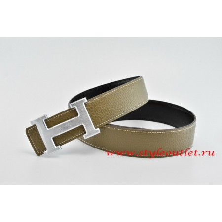 Hermes Classics H Leather Reversible Gray/Black Belt 18k Silver With Logo Buckle
