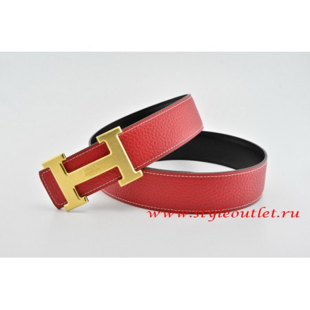 Hermes Classics H Leather Reversible Red/Black Belt 18k Gold With Logo Buckle
