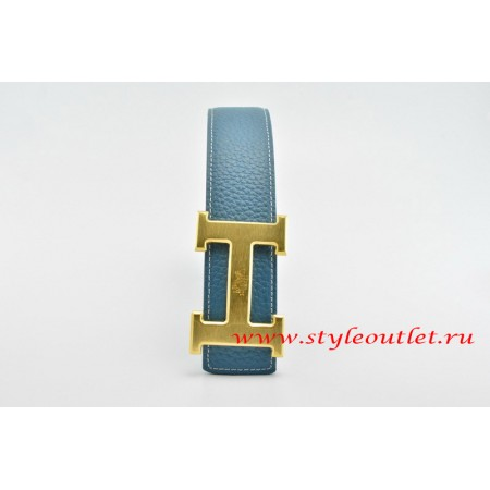 Hermes Classics H Leather Reversible Blue/Black Belt 18k Gold With Logo Buckle