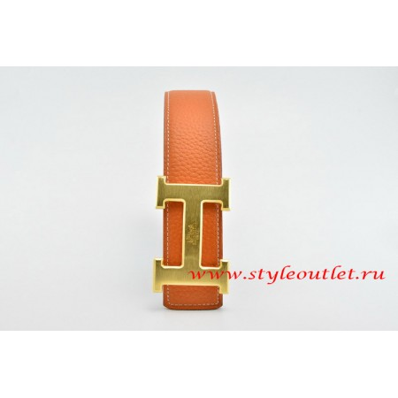 Hermes Classics H Leather Reversible Orange/Black Belt 18k Gold With Logo Buckle