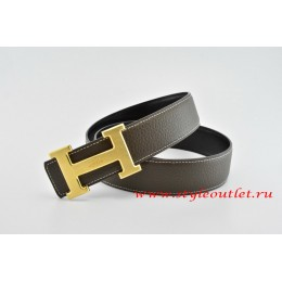 Hermes Classics H Leather Reversible Brown/Black Belt 18k Gold With Logo Buckle