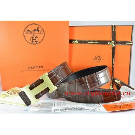 Hermes Brown/Black Crocodile Stripe Leather Reversible Belt 18K Gold H Buckle
