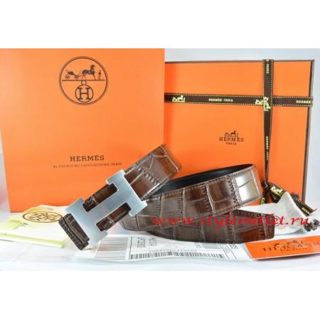 Hermes Brown/Black Crocodile Stripe Leather Reversible Belt 18K Silver H Buckle