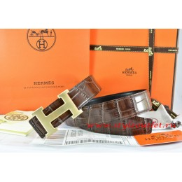 Hermes Brown/Black Crocodile Stripe Leather Reversible Belt 18K Drawbench Gold H Buckle