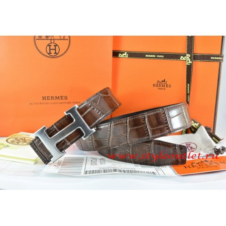 Hermes Brown/Black Crocodile Stripe Leather Reversible Belt 18K Drawbench Silver H Buckle