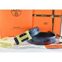 Hermes Blue/Black Crocodile Stripe Leather Reversible Belt 18K Gold H Buckle