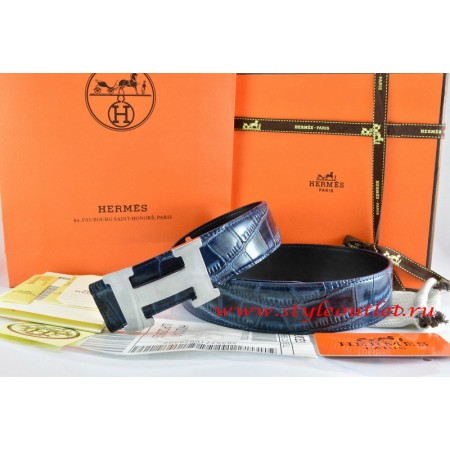 Hermes Blue/Black Crocodile Stripe Leather Reversible Belt 18K Silver H Buckle