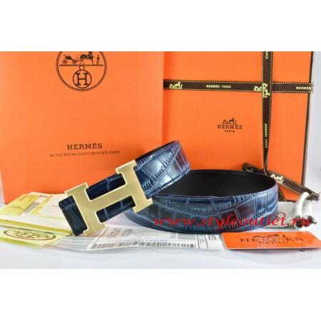Hermes Blue/Black Crocodile Stripe Leather Reversible Belt 18K Drawbench Gold H Buckle