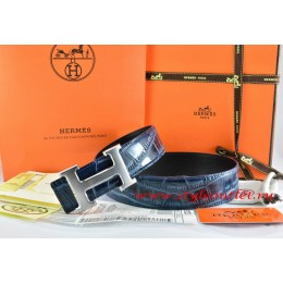 Hermes Blue/Black Crocodile Stripe Leather Reversible Belt 18K Drawbench Silver H Buckle