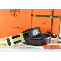 Hermes Black/Black Crocodile Stripe Leather Reversible Belt 18K Gold H Buckle