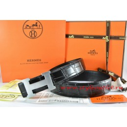 Hermes Black/Black Crocodile Stripe Leather Reversible Belt 18K Silver H Buckle