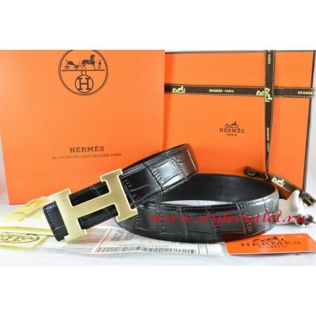 Hermes Black/Black Crocodile Stripe Leather Reversible Belt 18K Drawbench Gold H Buckle