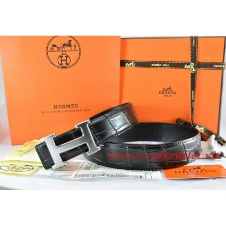 Hermes Black/Black Crocodile Stripe Leather Reversible Belt 18K Drawbench Silver H Buckle