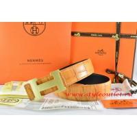 Hermes Orange/Orange Crocodile Stripe Leather Reversible Belt 18K Gold H Buckle