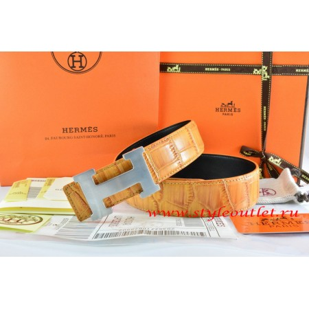 Hermes Orange/Orange Crocodile Stripe Leather Reversible Belt 18K Silver H Buckle