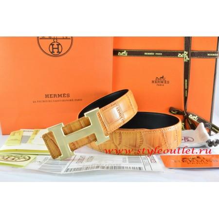 Hermes Orange/Orange Crocodile Stripe Leather Reversible Belt 18K Drawbench Gold H Buckle