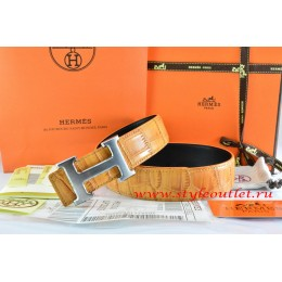 Hermes Orange/Orange Crocodile Stripe Leather Reversible Belt 18K Drawbench Silver H Buckle
