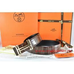 Hermes Brown/Black Crocodile Stripe Leather Reversible Belt 18K Gold H au Carre Buckle