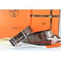 Hermes Brown/Black Crocodile Stripe Leather Reversible Belt 18K Silver H au Carre Buckle
