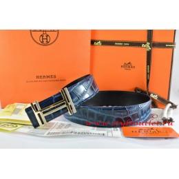Hermes Blue/Black Crocodile Stripe Leather Reversible Belt 18K Gold H au Carre Buckle