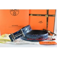Hermes Blue/Black Crocodile Stripe Leather Reversible Belt 18K Silver H au Carre Buckle