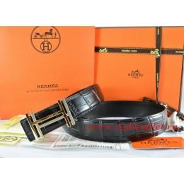 Hermes Black/Black Crocodile Stripe Leather Reversible Belt 18K Gold H au Carre Buckle